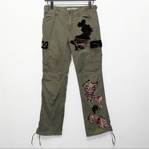 Express Olive Green Patchwork Cargo Pants